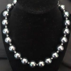 Large Mystic Black Bead Necklace